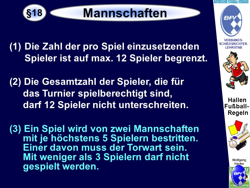 Hallen Fußball- Regeln Wolfgang Hauke VERBANDS- SCHIEDSRICHTER- LEHRSTAB Wolfgang Hauke E-,F-,G- Junioren/innen 3 Feldspieler + Torwart sowie weitere 8 AW-Spieler 4 Feldspieler + Torwart sowie weitere 7 AW-Spieler 5 Feldspieler + Torwart sowie weitere 6 AW-Spieler ca.