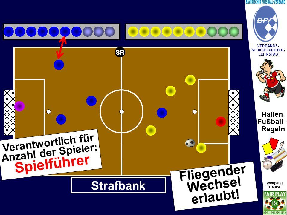 Hallen Fußball- Regeln Wolfgang Hauke VERBANDS- SCHIEDSRICHTER- LEHRSTAB Wolfgang Hauke Das Auswechseln von Spielern soll grundsätzlich im Bereich der Mittellinie erfolgen.