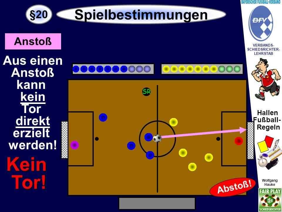 Hallen Fußball- Regeln Wolfgang Hauke VERBANDS- SCHIEDSRICHTER- LEHRSTAB Wolfgang Hauke §20 Spielbestimmungen SR Eckstoß Aus einem Eckstoß kann ein Tor direkt erzielt werden.