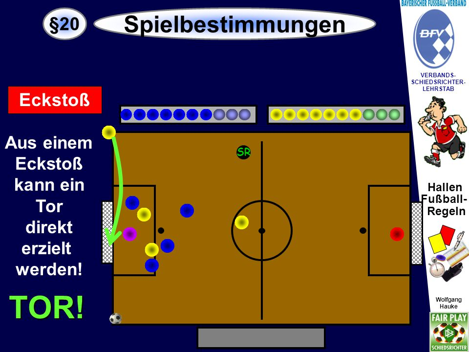 Hallen Fußball- Regeln Wolfgang Hauke VERBANDS- SCHIEDSRICHTER- LEHRSTAB Wolfgang Hauke §20 Spielbestimmungen SR Freistoß Es gibt direkte und indirekte Freistösse.
