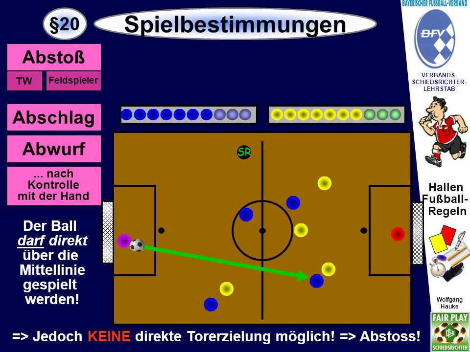Hallen Fußball- Regeln Wolfgang Hauke VERBANDS- SCHIEDSRICHTER- LEHRSTAB Wolfgang Hauke §20 Spielbestimmungen SR Torerzielung über die Mittellinie Eine Tor- erzielung (aus dem Spiel) über die Mittellinie ist erlaubt.