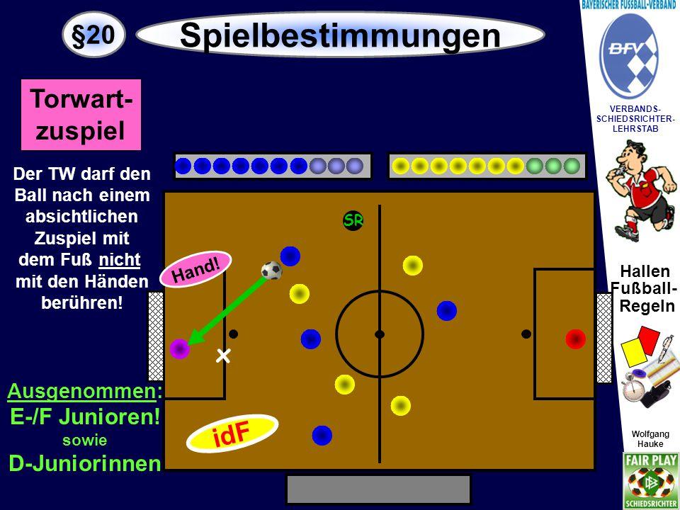 """Hallen Fußball- Regeln Wolfgang Hauke VERBANDS- SCHIEDSRICHTER- LEHRSTAB Wolfgang Hauke §20 Spielbestimmungen SR Strafstoß Torwart darf auch """"nachschießen ."""