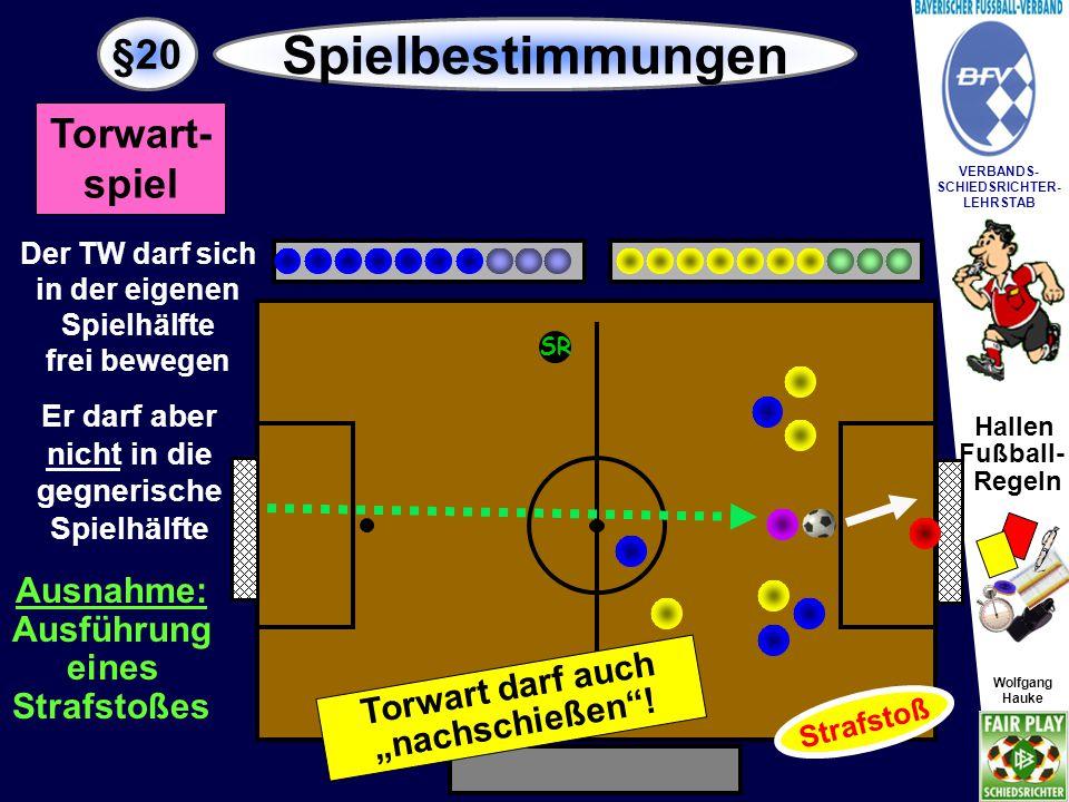 Hallen Fußball- Regeln Wolfgang Hauke VERBANDS- SCHIEDSRICHTER- LEHRSTAB Wolfgang Hauke §20 Spielbestimmungen SR Der Torwart ist in diesem Fall wie ein Feldspieler zu behandeln.