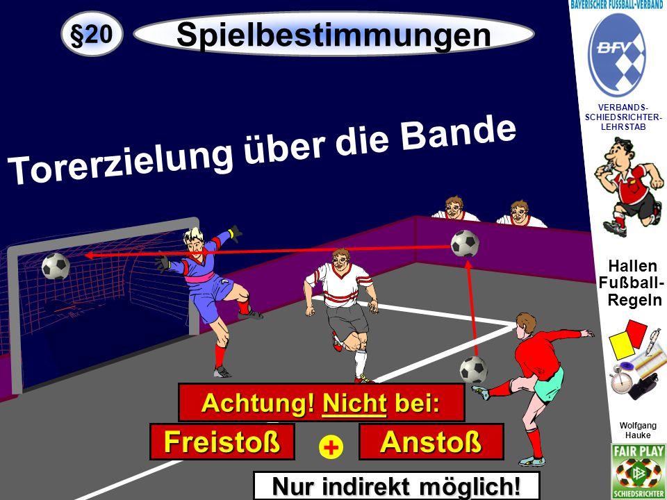 """Hallen Fußball- Regeln Wolfgang Hauke VERBANDS- SCHIEDSRICHTER- LEHRSTAB Wolfgang Hauke """"EINKICK 4 §20 Spielbestimmungen Nach einem Seitenausball (Ball über die Linie oder über die Bande) ist das Spiel mit """"Einkick fortzusetzen."""