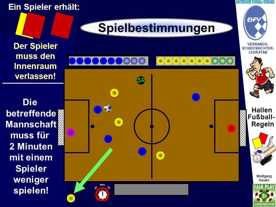 Hallen Fußball- Regeln Wolfgang Hauke VERBANDS- SCHIEDSRICHTER- LEHRSTAB Wolfgang Hauke Schießt die gegnerische Mannschaft ein Tor, so kann sich die andere Mannschaft wieder um einen Spieler ergänzen.