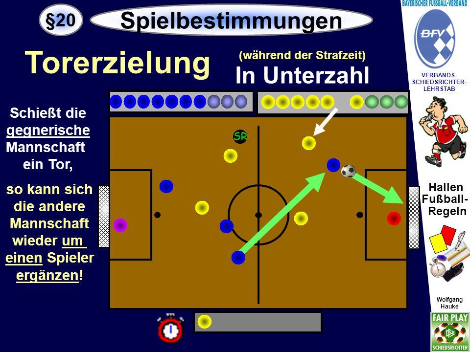 Hallen Fußball- Regeln Wolfgang Hauke VERBANDS- SCHIEDSRICHTER- LEHRSTAB Wolfgang Hauke Schießt die Mannschaft in Unterzahl ein Tor, so kann sie sich nicht um einen Spieler ergänzen.