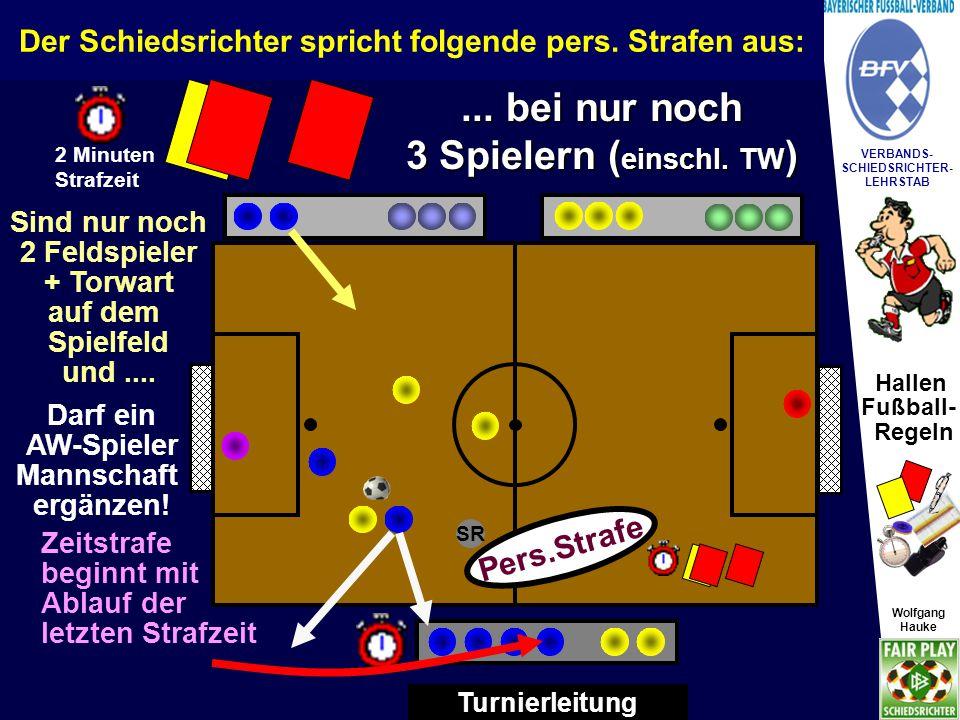 Hallen Fußball- Regeln Wolfgang Hauke VERBANDS- SCHIEDSRICHTER- LEHRSTAB Wolfgang Hauke SR Turnierleitung Sind nur noch 2 Feldspieler + Torwart auf dem Spielfeld und....