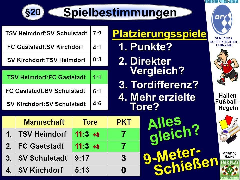 Hallen Fußball- Regeln Wolfgang Hauke VERBANDS- SCHIEDSRICHTER- LEHRSTAB Wolfgang Hauke §20 Spielbestimmungen Platzierungsspiele / Sondertabelle 1.