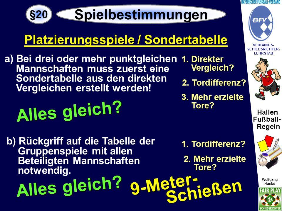 Hallen Fußball- Regeln Wolfgang Hauke VERBANDS- SCHIEDSRICHTER- LEHRSTAB Wolfgang Hauke Enden Entscheidungsspiele nach dem k.o.-System unentschieden, so werden diese entsprechend den Bestimmungen § 19 verlängert.
