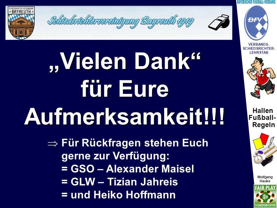 """Hallen Fußball- Regeln Wolfgang Hauke VERBANDS- SCHIEDSRICHTER- LEHRSTAB Wolfgang Hauke """"Vielen Dank"""" für Eure Aufmerksamkeit!!!  Für Rückfragen steh"""