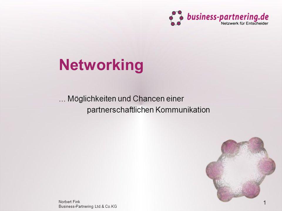 Norbert Fink Business-Partnering Ltd.& Co.KG 1 Networking...Möglichkeiten und Chancen einer partnerschaftlichen Kommunikation