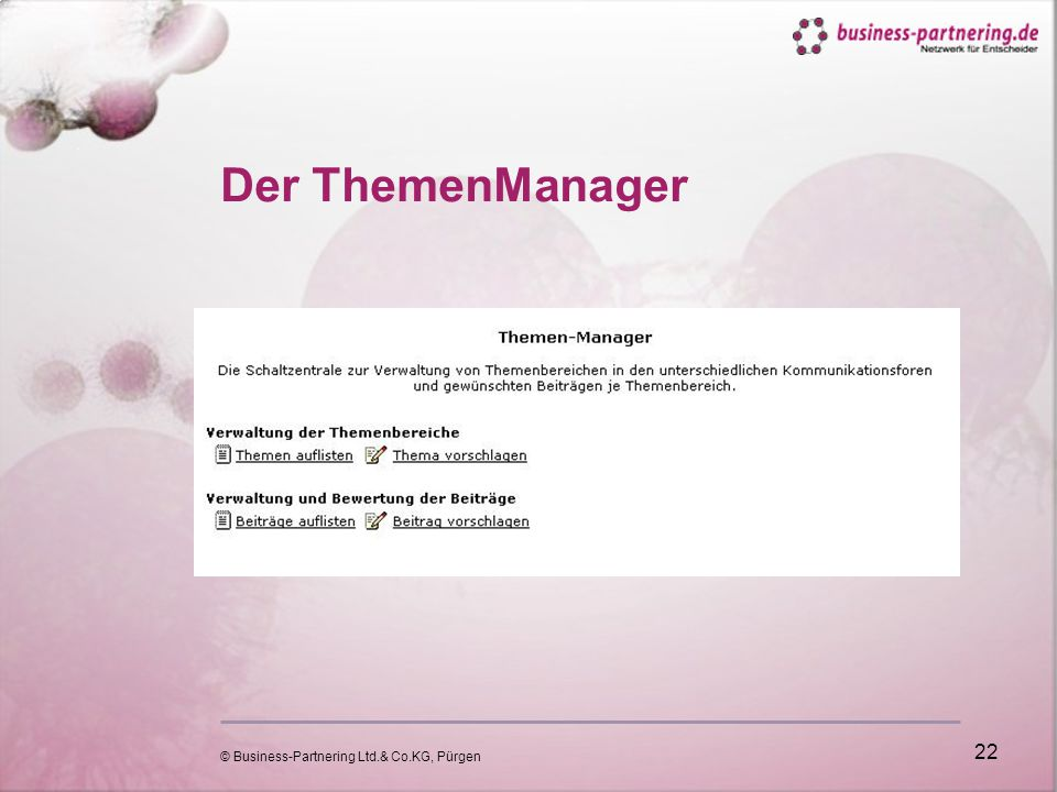 © Business-Partnering Ltd.& Co.KG, Pürgen 22 Der ThemenManager
