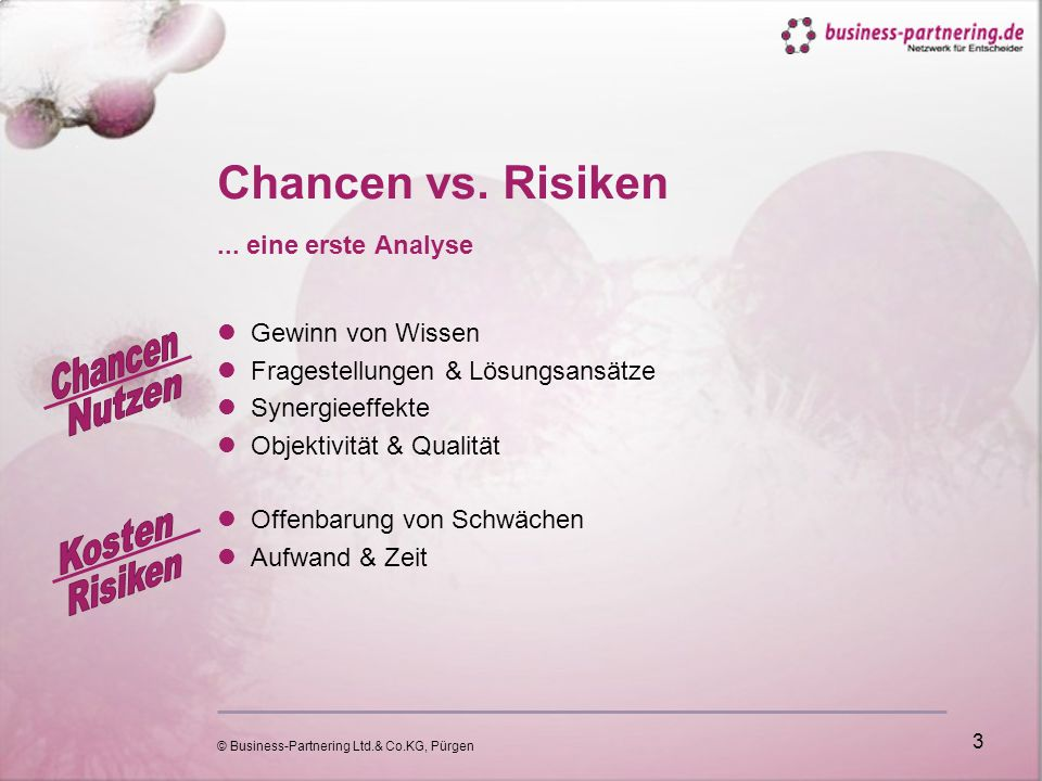 © Business-Partnering Ltd.& Co.KG, Pürgen 3 Chancen vs.