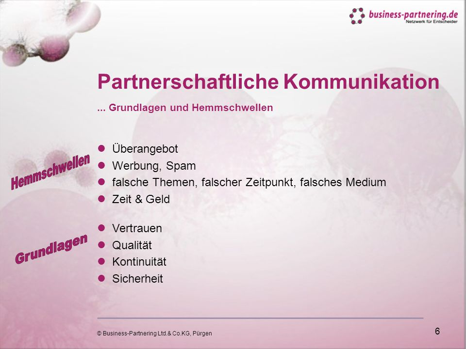 © Business-Partnering Ltd.& Co.KG, Pürgen 6 Partnerschaftliche Kommunikation...