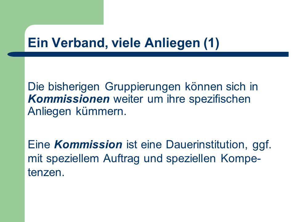 Ein Verband, viele Anliegen (1) Die bisherigen Gruppierungen können sich in Kommissionen weiter um ihre spezifischen Anliegen kümmern.