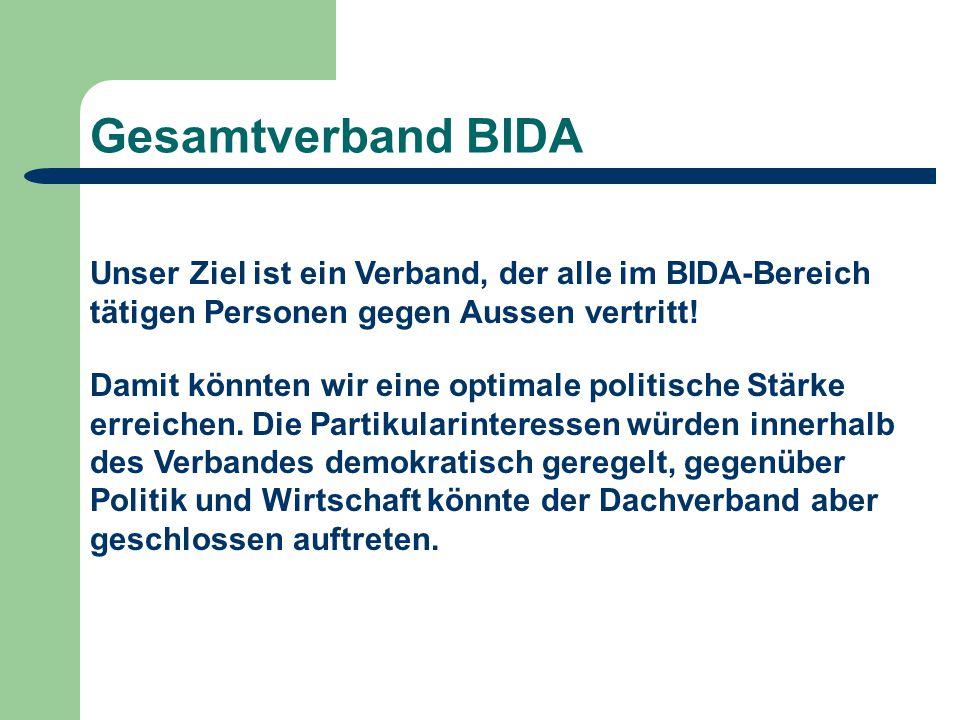 Gesamtverband BIDA Unser Ziel ist ein Verband, der alle im BIDA-Bereich tätigen Personen gegen Aussen vertritt.