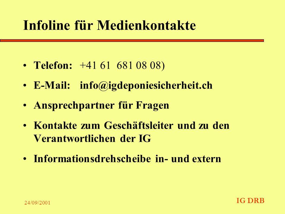 IG DRB 24/09/2001 Infoline für Medienkontakte Telefon: +41 61 681 08 08) E-Mail: info@igdeponiesicherheit.ch Ansprechpartner für Fragen Kontakte zum Geschäftsleiter und zu den Verantwortlichen der IG Informationsdrehscheibe in- und extern