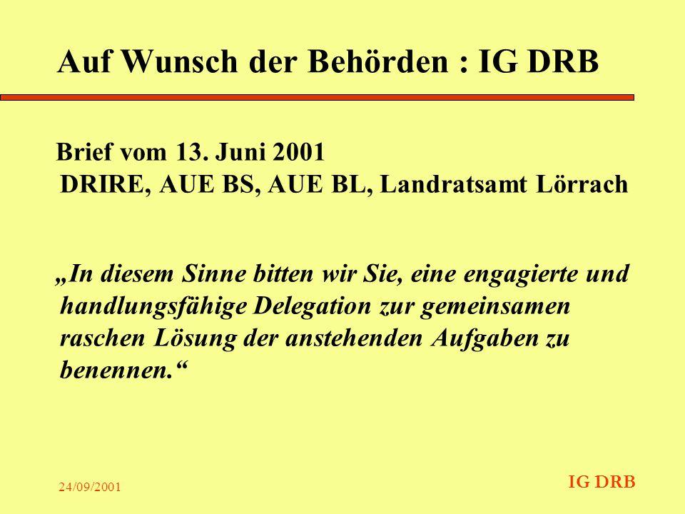 IG DRB 24/09/2001 Zweck Die Bearbeitung und Koordination von Fragen im Zusammenhang mit der nachhaltigen Förderung der Sicherheit von Deponien in der Regio Basel.