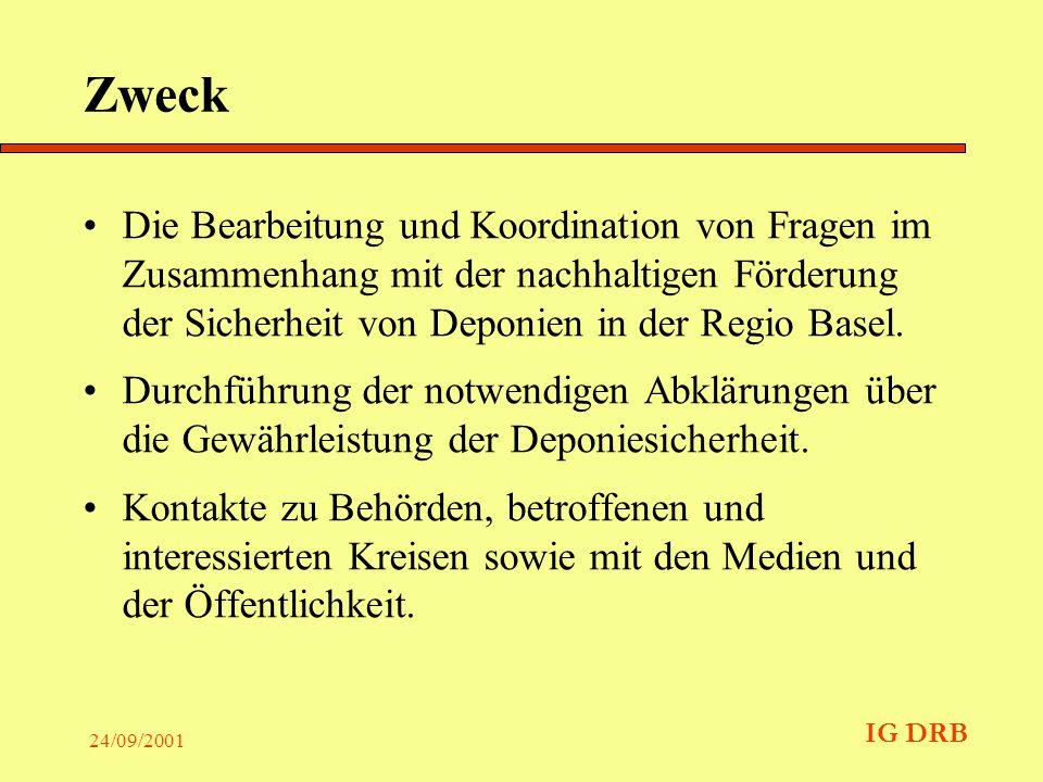 IG DRB 24/09/2001 Der Auftrag Die IG DRB führt die notwendigen Abklärungen für Deponien in der Regio Basel durch, welche von Mitgliedern zur Ablagerung von Chemieabfällen verwendet wurden.