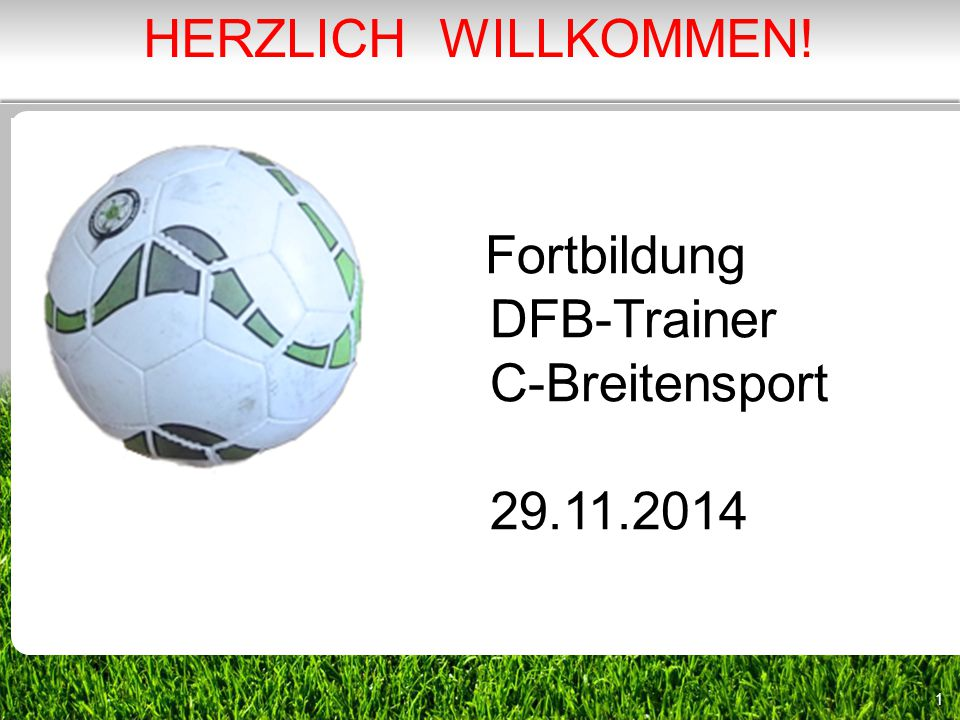 1 Fortbildung DFB-Trainer C-Breitensport 29.11.2014 HERZLICH WILLKOMMEN!