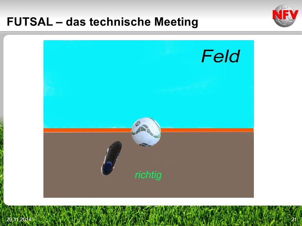 29.11.201421 FUTSAL – das technische Meeting