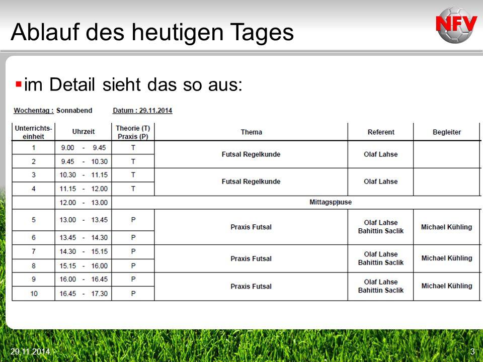 29.11.201414 FUTSAL – das technische Meeting Inhalte technisches Meeting (Kreis Harburg)  Begrüßung  Vorstellung der Schiedsrichter  Abstand bei Standards: 5 Meter, außer beim Anstoß (hier 3 Meter)
