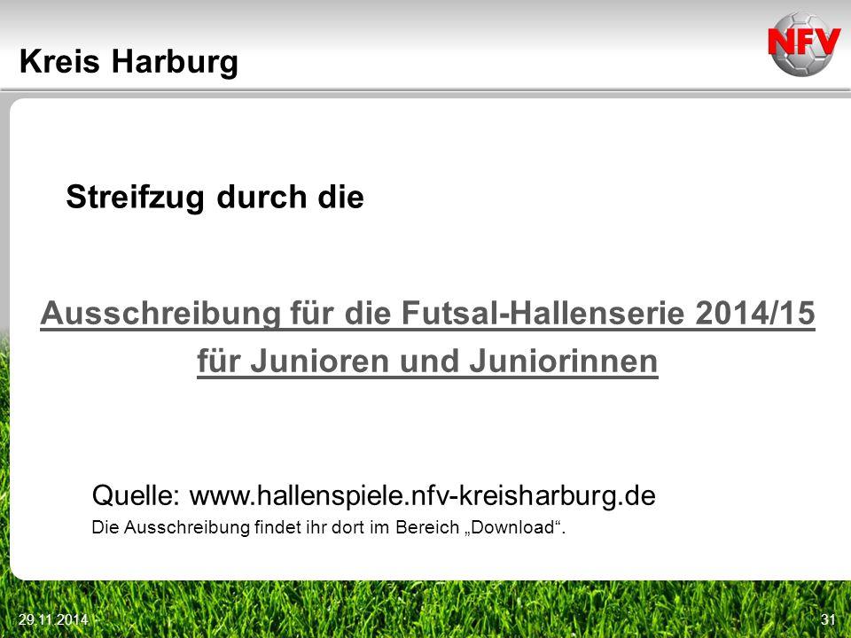 29.11.201431 Kreis Harburg Ausschreibung für die Futsal-Hallenserie 2014/15 für Junioren und Juniorinnen Streifzug durch die Quelle: www.hallenspiele.