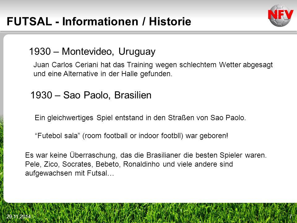 29.11.201428 FUTSAL – Regelfragen Ein Torhüter bekommt den Ball aus dem Spiel heraus regelgerecht zugespielt; er stoppt den Ball innerhalb des Strafraums mit dem Fuß.