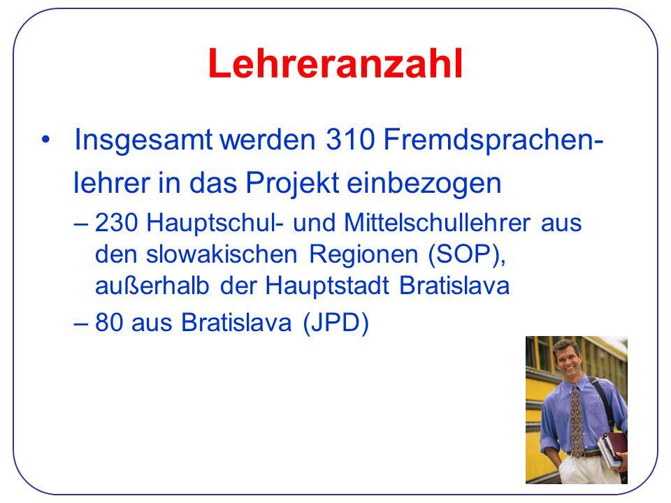 Lehreranzahl Insgesamt werden 310 Fremdsprachen- lehrer in das Projekt einbezogen –230 Hauptschul- und Mittelschullehrer aus den slowakischen Regionen (SOP), außerhalb der Hauptstadt Bratislava –80 aus Bratislava (JPD)