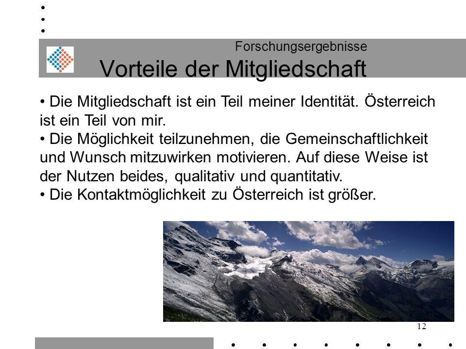 12 Forschungsergebnisse Vorteile der Mitgliedschaft Die Mitgliedschaft ist ein Teil meiner Identität. Österreich ist ein Teil von mir. Die Möglichkeit