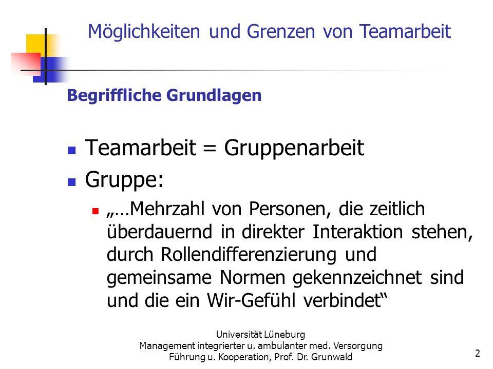 Universität Lüneburg Management integrierter u. ambulanter med. Versorgung Führung u. Kooperation, Prof. Dr. Grunwald 2 Begriffliche Grundlagen Teamar