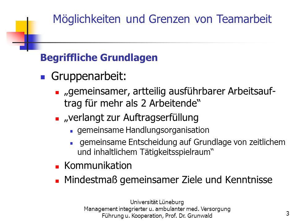 Möglichkeiten und Grenzen von Teamarbeit Universität Lüneburg Management integrierter u. ambulanter med. Versorgung Führung u. Kooperation, Prof. Dr.