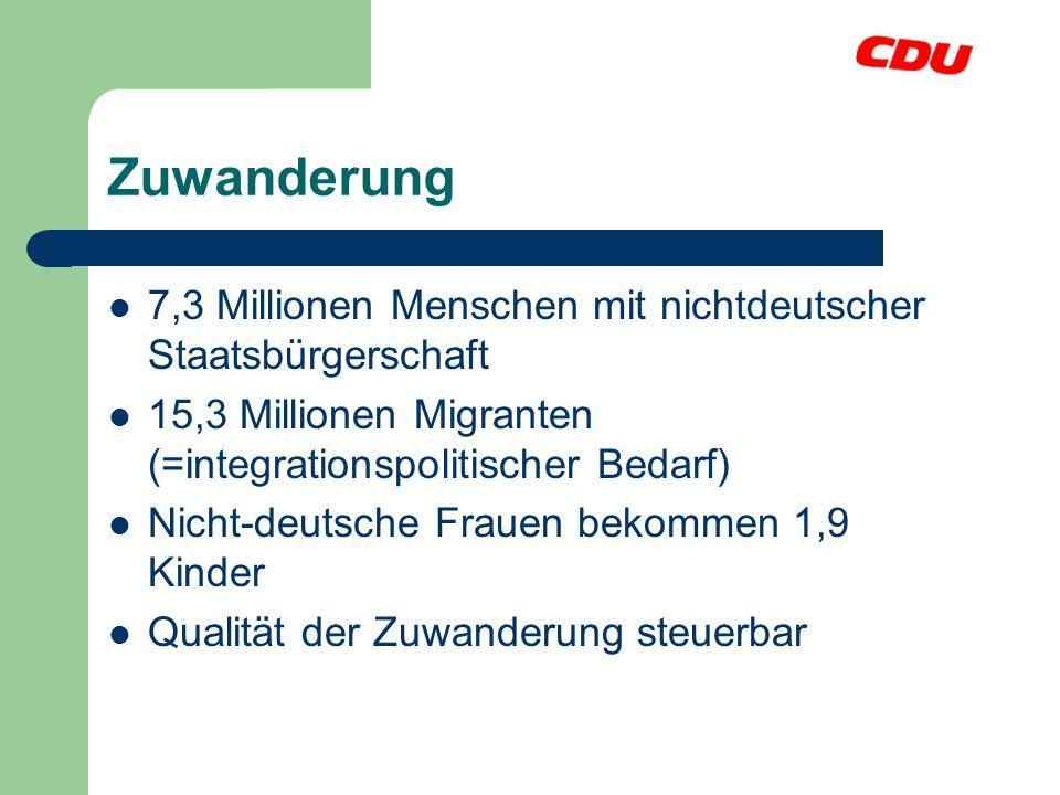 Zuwanderung 7,3 Millionen Menschen mit nichtdeutscher Staatsbürgerschaft 15,3 Millionen Migranten (=integrationspolitischer Bedarf) Nicht-deutsche Fra