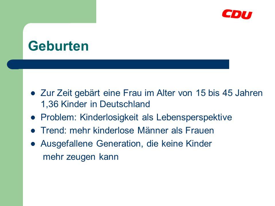 Geburten Zur Zeit gebärt eine Frau im Alter von 15 bis 45 Jahren 1,36 Kinder in Deutschland Problem: Kinderlosigkeit als Lebensperspektive Trend: mehr