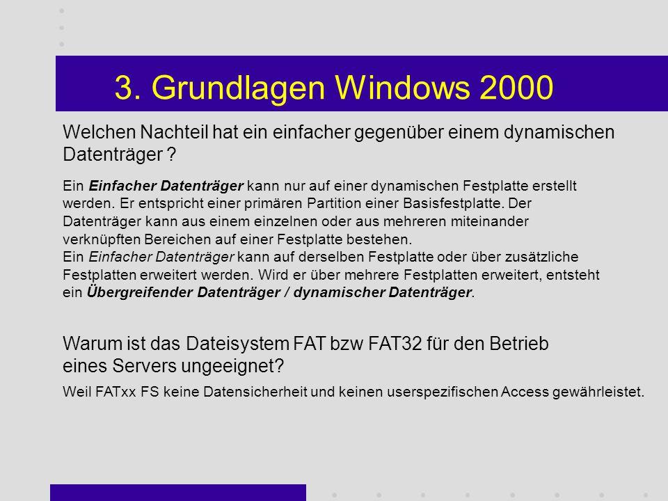 3. Grundlagen Windows 2000 - RAID-5-Datenträger: Ein RAID-5-Datenträger ist ein fehlertoleranter Datenträger mit Daten und Paritäten, die über drei od
