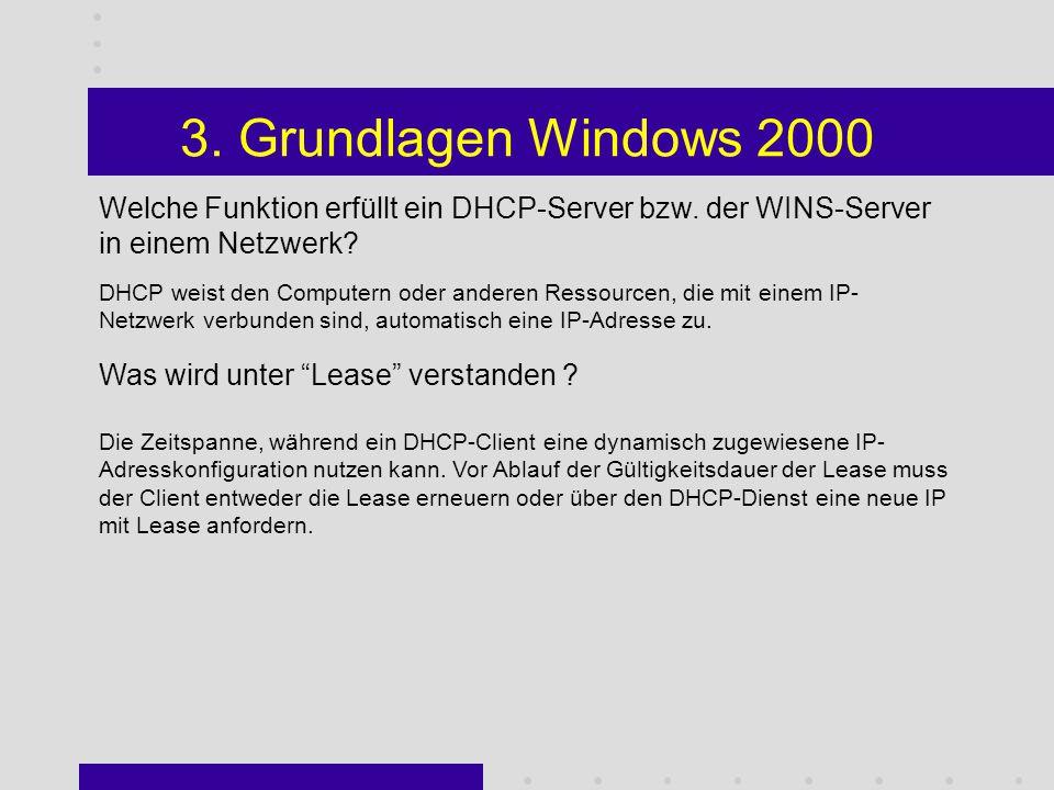 3. Grundlagen Windows 2000 Welchen Nachteil hat ein einfacher gegenüber einem dynamischen Datenträger ? Ein Einfacher Datenträger kann nur auf einer d