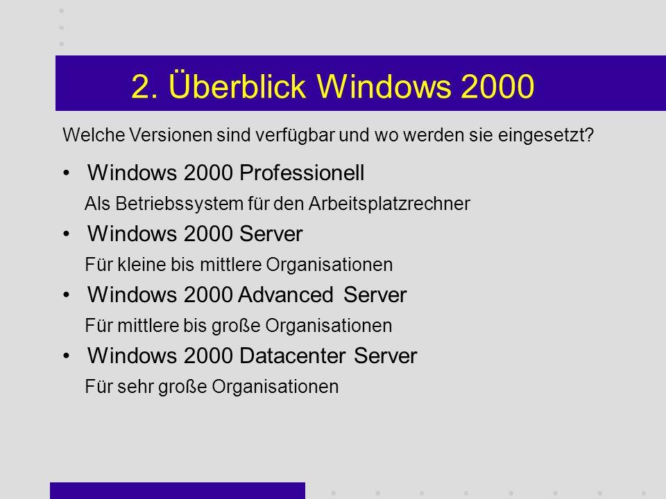 Überblick Win2k (advanced) Server Part 1: Überblick u. Grundlagen Windows 2000 J. Emsters Part 2: DNS u. Active Directory C. Cucchiara Part 3: Benutze