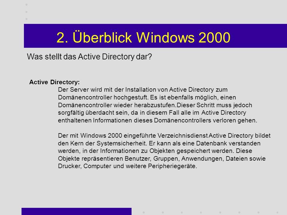 2. Überblick Windows 2000 Wofür wird die Managementkonsole eingesetzt.