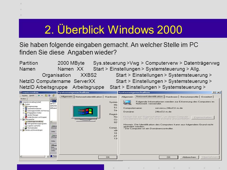 2. Überblick Windows 2000 Was stellt das Active Directory dar.