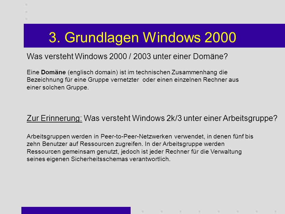 2. Überblick Windows 2000 Sie haben folgende eingaben gemacht.