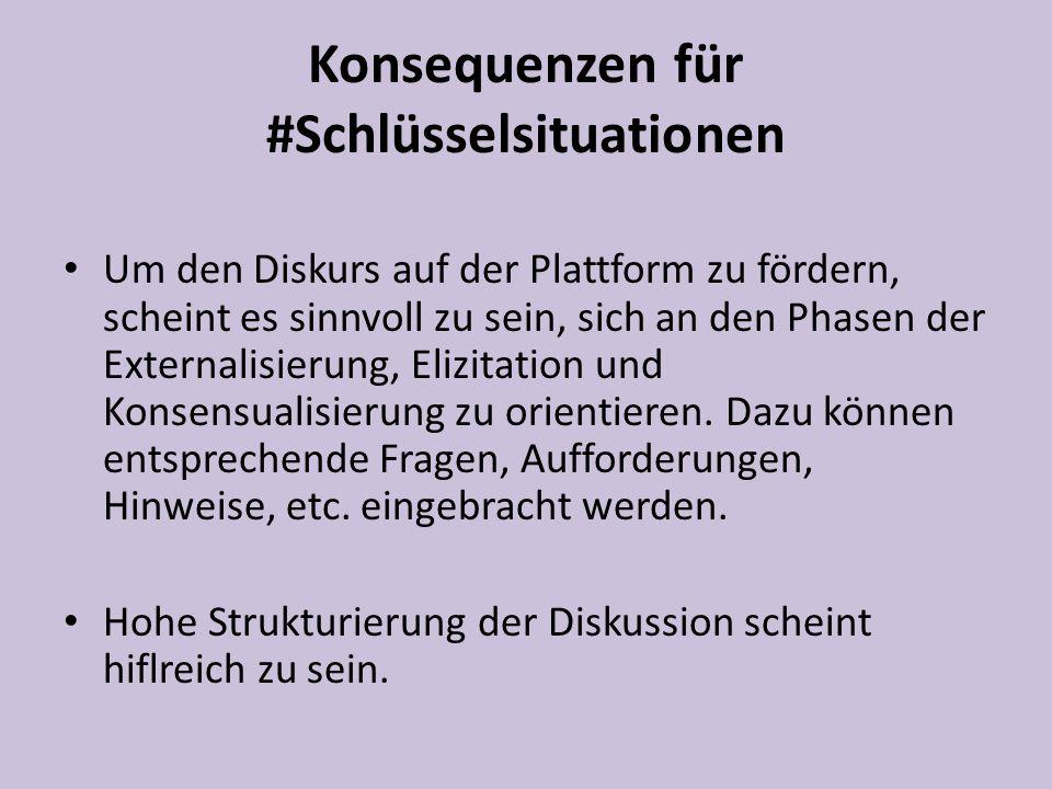 Um den Diskurs auf der Plattform zu fördern, scheint es sinnvoll zu sein, sich an den Phasen der Externalisierung, Elizitation und Konsensualisierung zu orientieren.