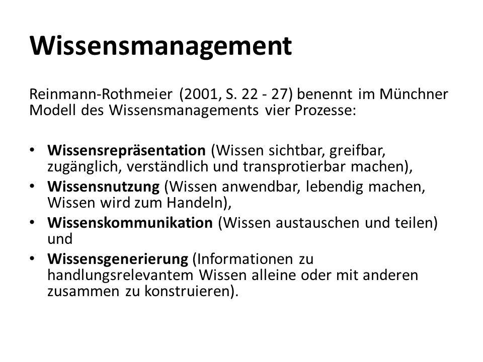 Wissensmanagement Reinmann-Rothmeier (2001, S.