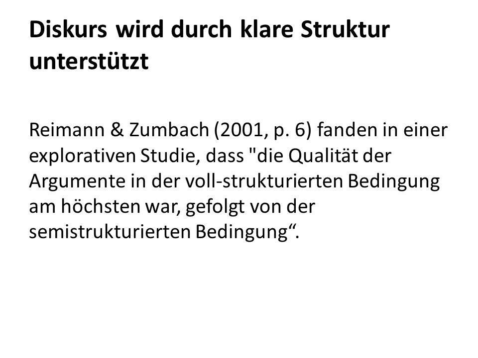 Diskurs wird durch klare Struktur unterstützt Reimann & Zumbach (2001, p.