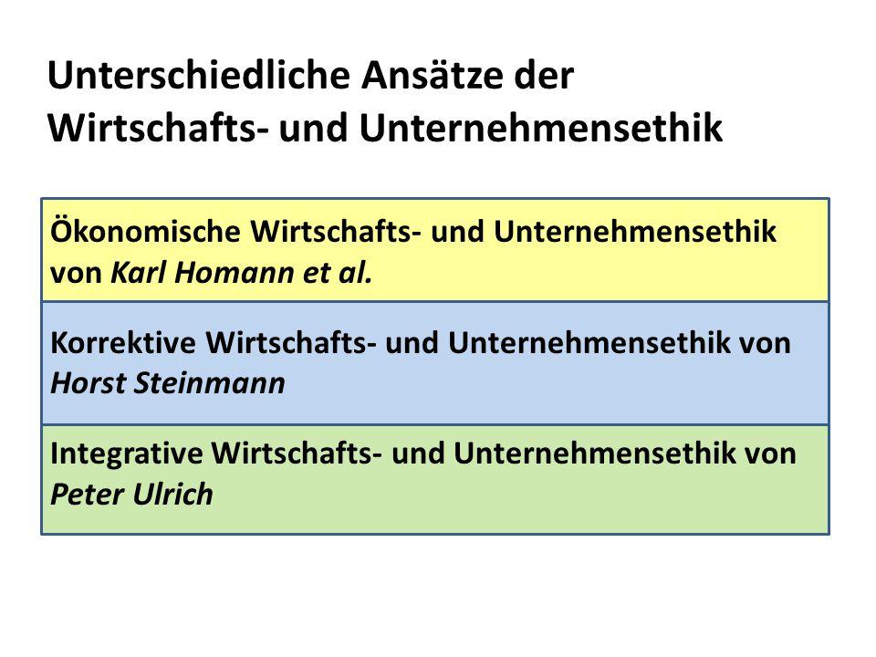 Unterschiedliche Ansätze der Wirtschafts- und Unternehmensethik Ökonomische Wirtschafts- und Unternehmensethik von Karl Homann et al. Korrektive Wirts