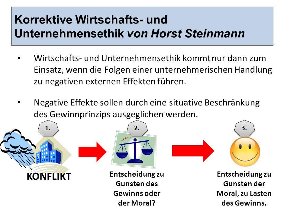Korrektive Wirtschafts- und Unternehmensethik von Horst Steinmann Wirtschafts- und Unternehmensethik kommt nur dann zum Einsatz, wenn die Folgen einer