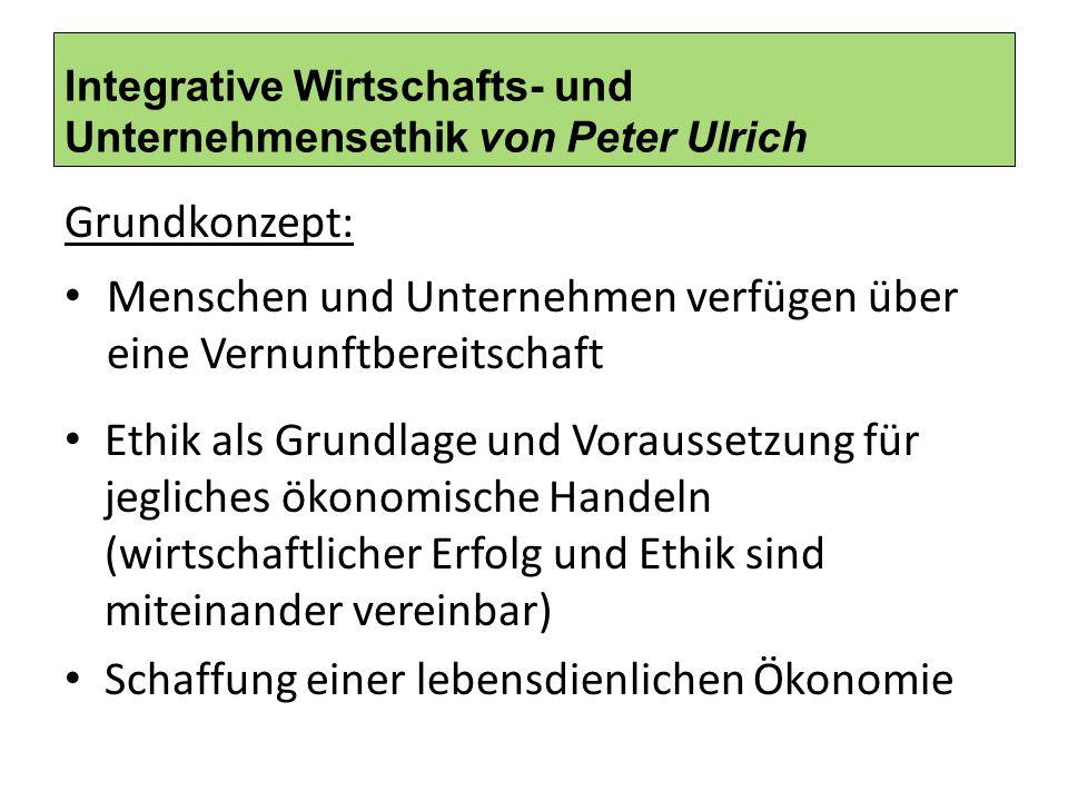 Integrative Wirtschafts- und Unternehmensethik von Peter Ulrich Grundkonzept: Menschen und Unternehmen verfügen über eine Vernunftbereitschaft Ethik a