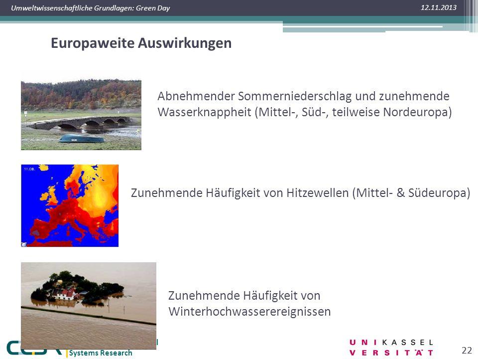 Center for Environmental Systems Research Umweltwissenschaftliche Grundlagen: Green Day Europaweite Auswirkungen 12.11.2013 22 Abnehmender Sommerniederschlag und zunehmende Wasserknappheit (Mittel-, Süd-, teilweise Nordeuropa) Zunehmende Häufigkeit von Hitzewellen (Mittel- & Südeuropa) Zunehmende Häufigkeit von Winterhochwasserereignissen