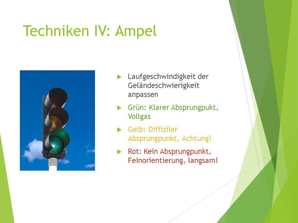 Techniken IV: Ampel  Laufgeschwindigkeit der Geländeschwierigkeit anpassen  Grün: Klarer Absprungpukt, Vollgas  Gelb: Diffiziler Absprungpunkt, Ach