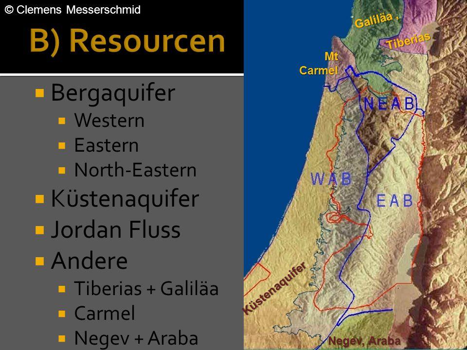  Bergaquifer  Western  Eastern  North-Eastern  Küstenaquifer  Jordan Fluss  Andere  Tiberias + Galiläa  Carmel  Negev + Araba Galiläa, Tiber