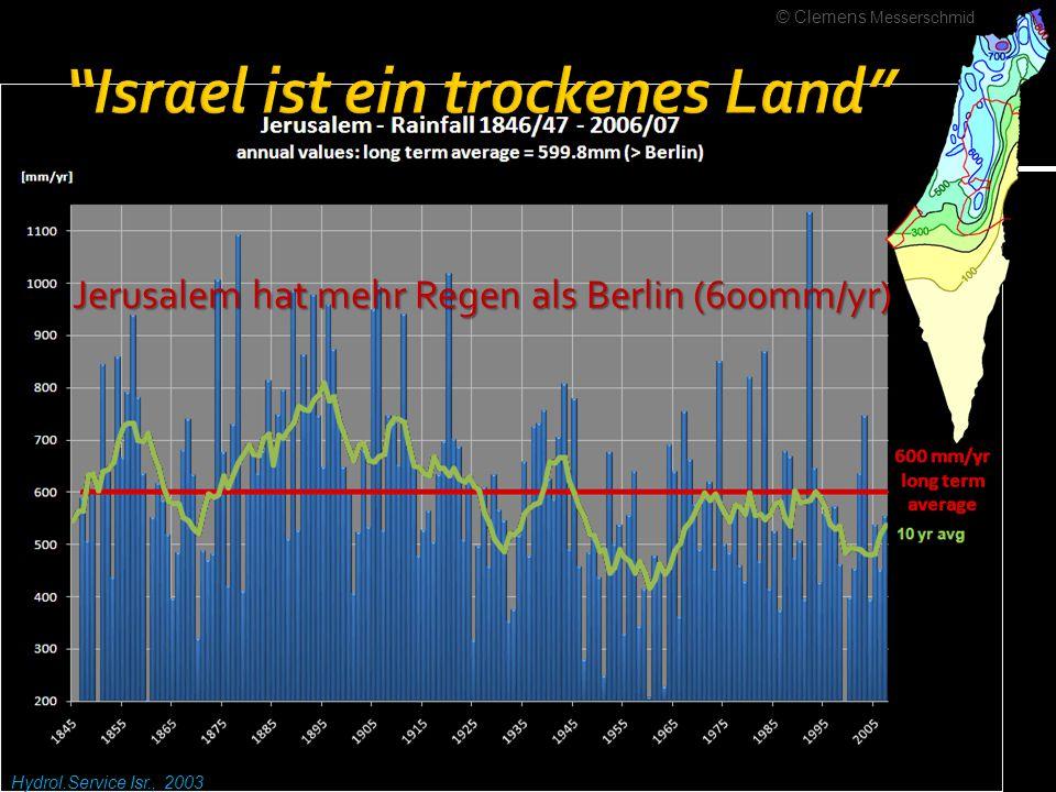 PWA data base, Hydrolog.ical Service of Israel Küstenaquifer: 1654.9 Israel: 465; Gaza 165mcm/yr (4.9 mcm) Jordan-Fluss / Tiberiasbecken: Null Israel: 600 mcm/yr; Wbk& Gaza: Null Andere Grundwasserbecken: Galiläa, Eastern Mountains, Mt Carmel, Negev (~150 + 150 + 40 + 90) Null Israel: ~430 mcm/yr; Wbk & Gaza: Null © Clemens Messerschmid